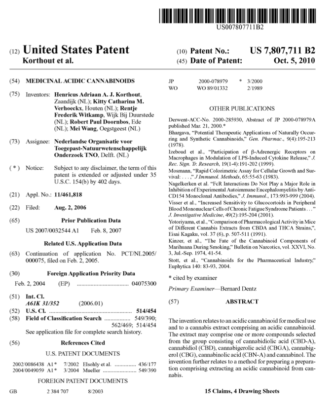 The US patent for medicinal acidic cannabinoids