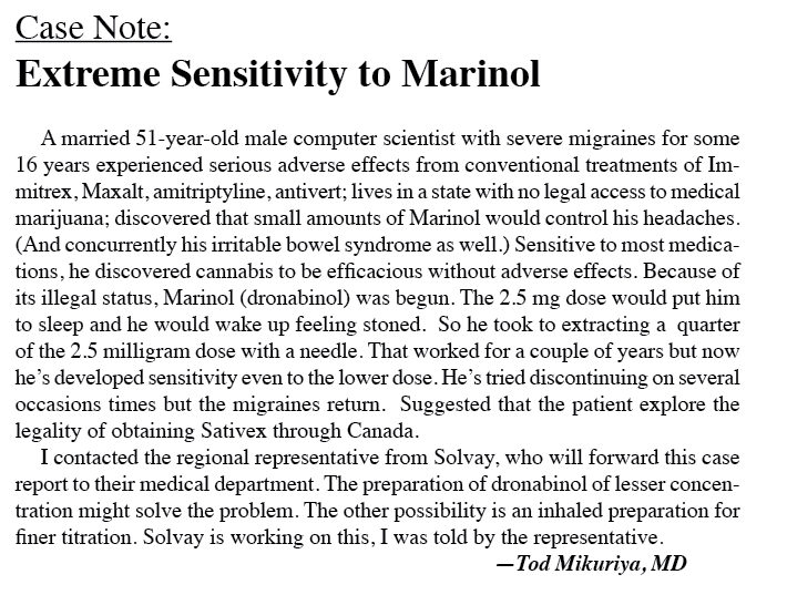Case Report: Extreme Sensitivity to Marinol
