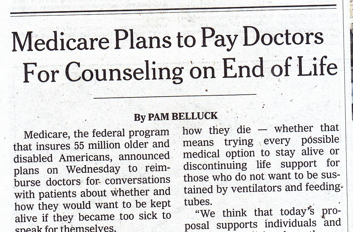 Medicare will pay for end-of-life counseling