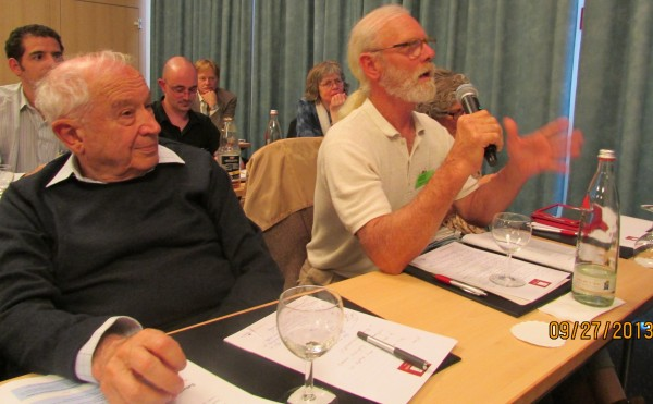 Raphael Mechoulam (left) and Jeffrey Hergenrather, MD, at a conference in 2013. The sharing of info between scientists and clinicians has advanced the field of Cannabis-based Medicine.