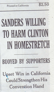 "NYT ""Sanders Willing to Harm Clinton"""