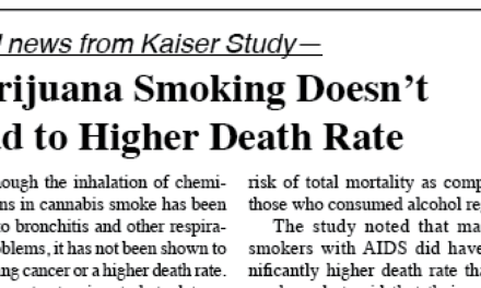Marijuana Smoking Doesn't Lead to Higher Death Rate —Kaiser Study
